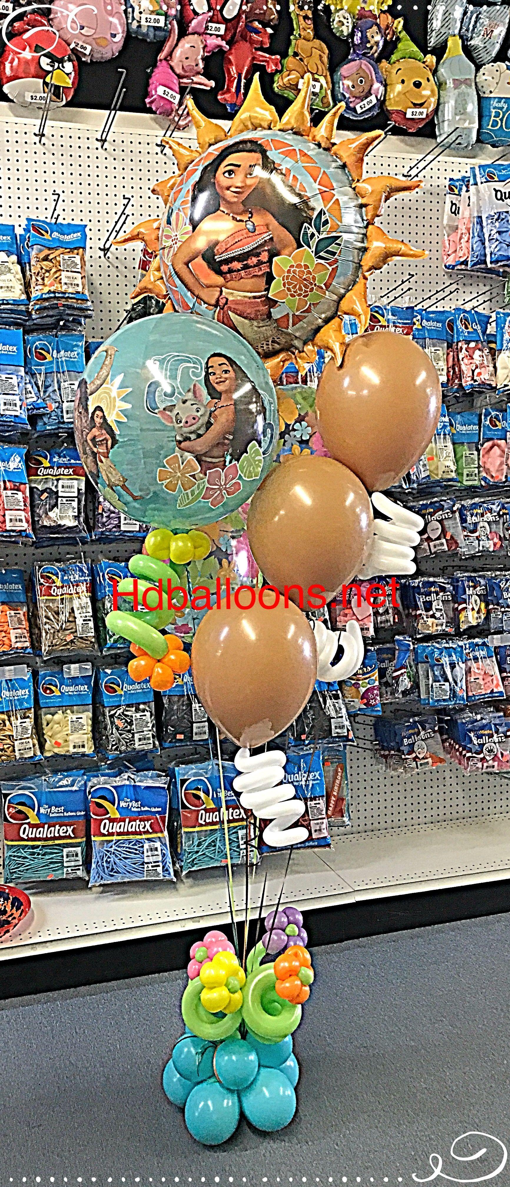 Moana balloons bouquet Balloon bouquet, Balloons