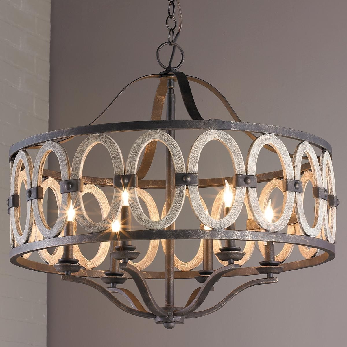 Driftwood Entwined Ovals Chandelier Dining Room
