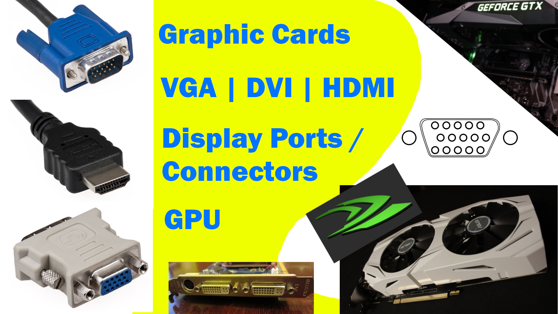 Vga Vs Graphic Cards Hdmi Dvi Display Ports What Is The Difference Between Gpu Vga Cards Graphic Card Dvi Hdmi