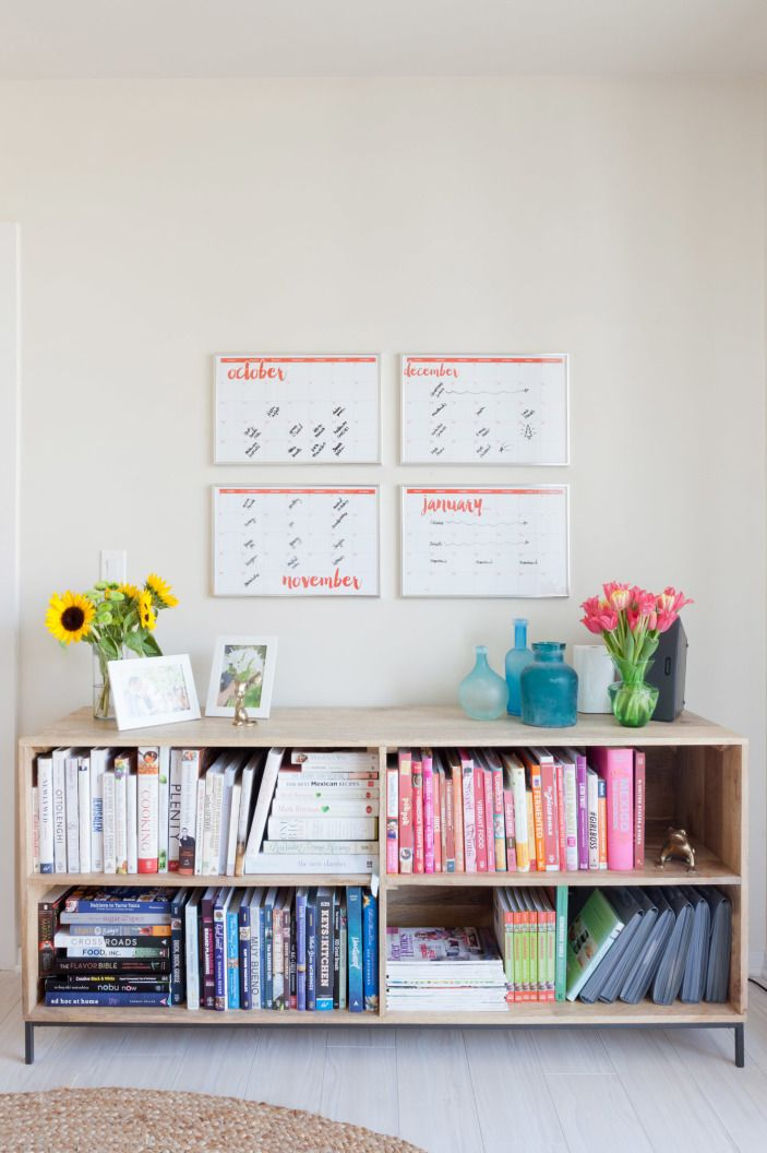 Gaby originally used paper calendars that she had taped to the closet. Erin knew there had to be a better way to schedule out her posts, so she took the calendars and framed them in glass. Now, Gaby can write directly on the glass and erase, instead of using messy post-its.