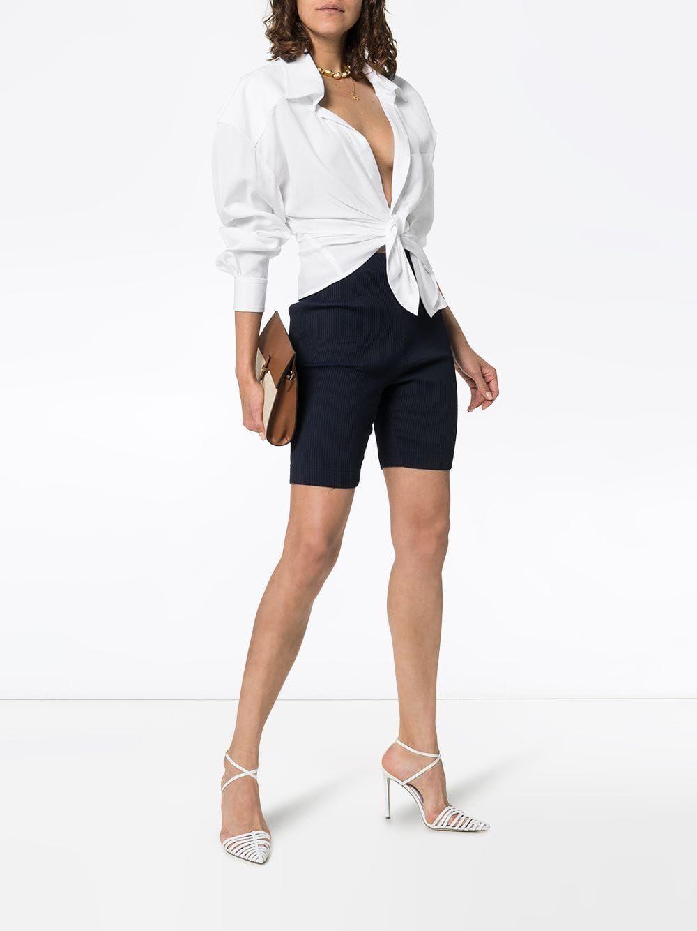 picked up best prices shop Jacquemus cropped tie-front cotton blouse £340 - Shop Online ...