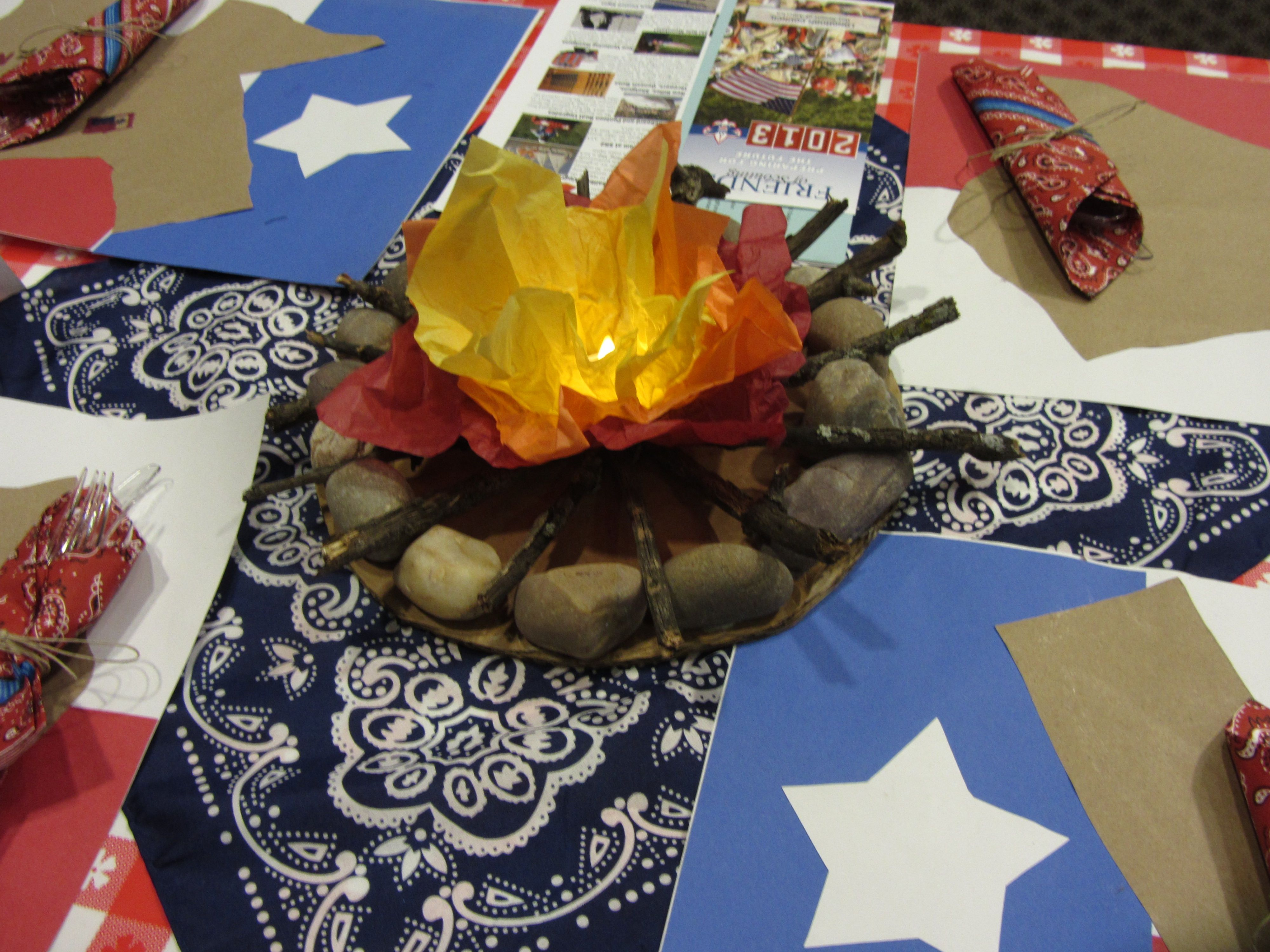 Mini campfire with led tea light inside western table