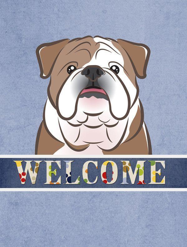 English Bulldog Welcome Flag Garden Size BB1405GF