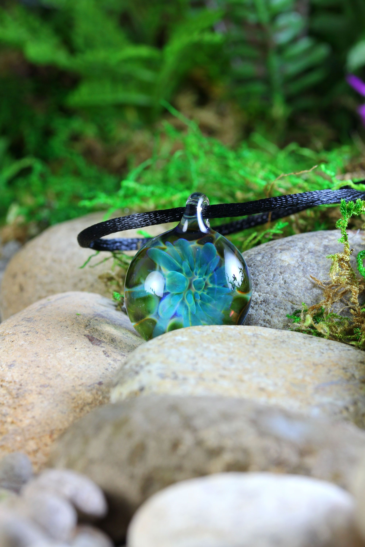 Ghost Dahlia Flower Implosion Lampwork Pendant Necklace