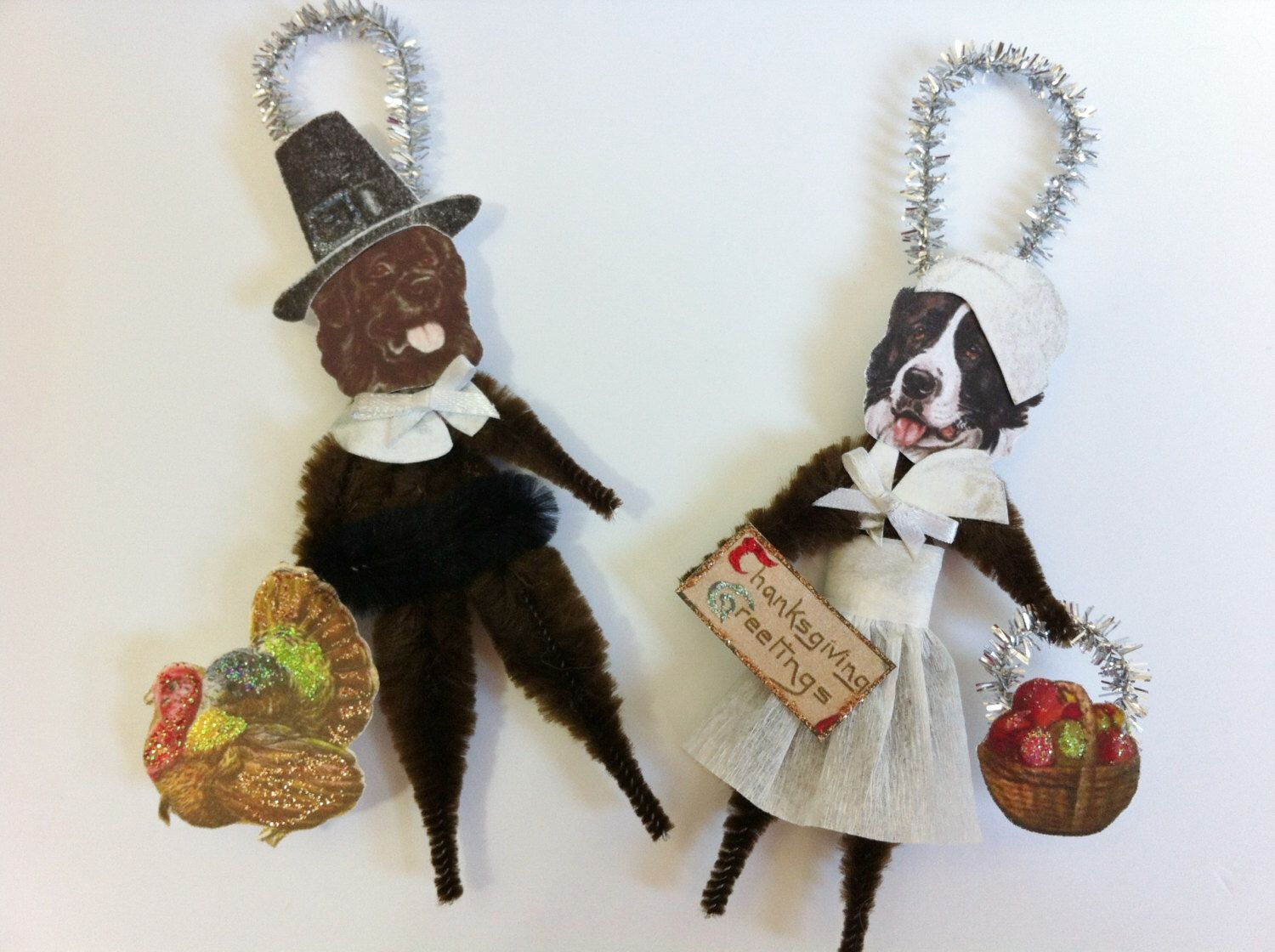 Newfoundland Dog THANKSGIVING PILGRIMS vintage style chenille ORNAMENTS set of 2 by StanleyAndStewart on Etsy https://www.etsy.com/listing/157243033/newfoundland-dog-thanksgiving-pilgrims