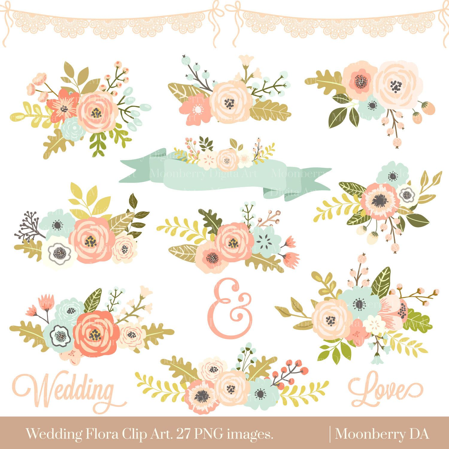 Wedding Floral Clipart \