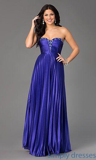 MY-2288SK1S - Strapless Sweetheart Pleated Floor Length Dress ...