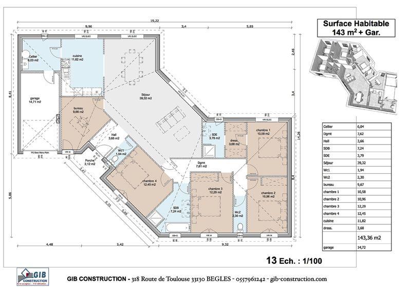 Gib Construction  Ralisations Rdc Maison En V  Maison