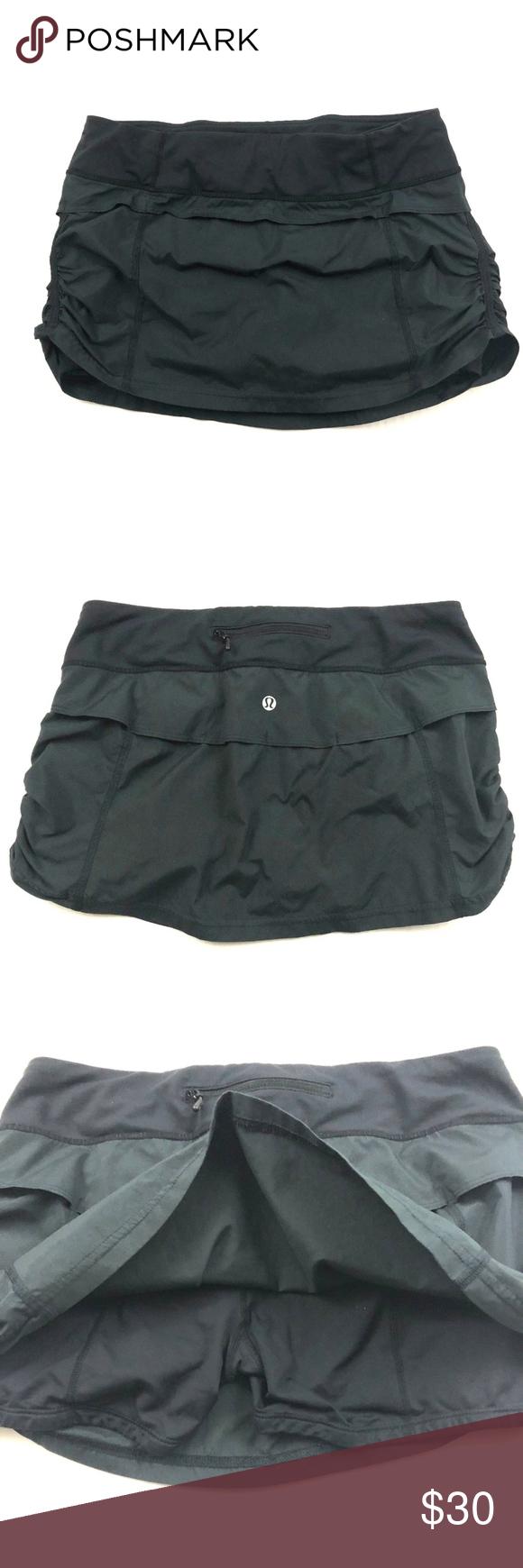 ce09d54a3e Lululemon Run Jog Skirt Skort Run Tennis Black 6 EUC Lululemon Run Jog Skirt  Skort Run Tennis Ruched Liner Size 6 lululemon athletica Skirts Mini