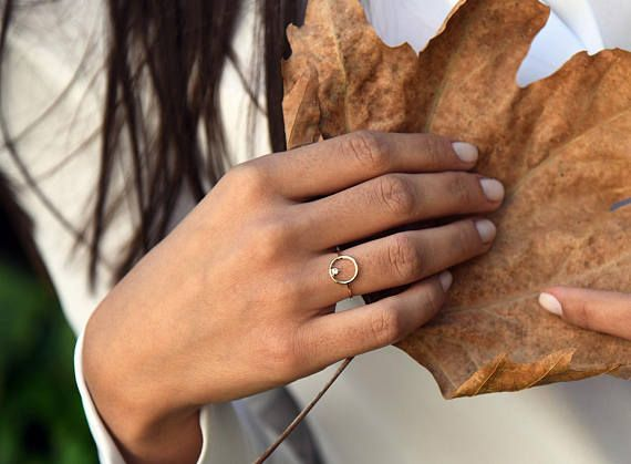 Open Circle Diamond Ring in 14k Gold / Unique Diamond Ring / Special Gift Item Details • Made to Order. • Made in the USA. • Gold KT: 14K • Custom Gold Color: Rose Gold, Yellow Gold, White Rhodium • Diamond Cut: Round • Number of Stones: 1 • Stone Size: 2.25MM • Total CTW: 0.05ctw • Diamond Color Clarity: G Color VS Clarity • Width of Band: 1.25mm • Setting Type: 3 Prong • Additional Notes: Non-Conflict Diamonds • Ready to Ship in 2 Weeks If you have any additional questions abo...