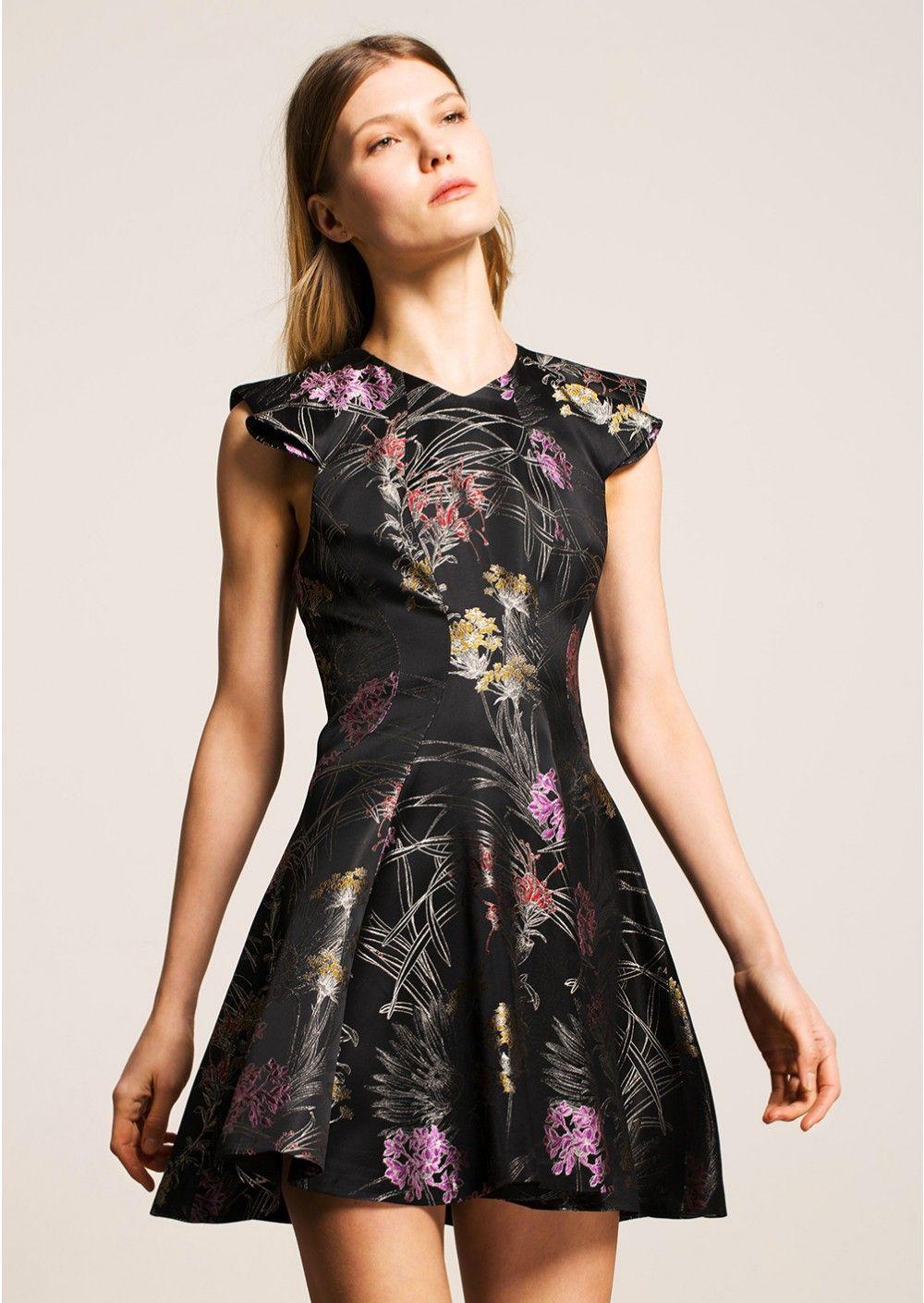 Black jacquard mini dress femme - tara jarmon 3