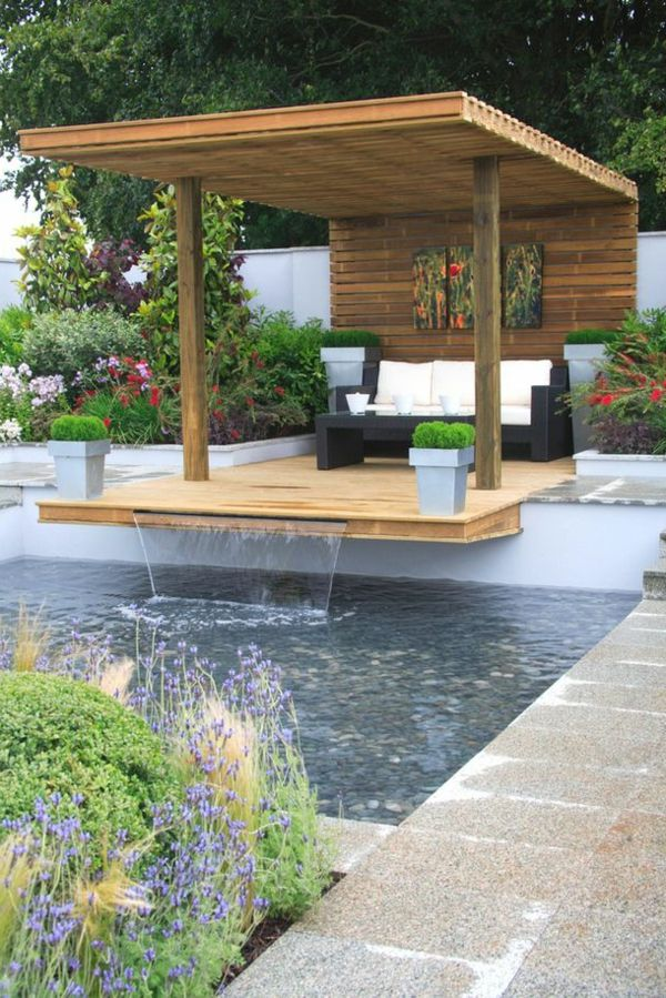 d coration de jardin avec une fontaine pour bassin pool pinterest tonnelles bassin et en bois. Black Bedroom Furniture Sets. Home Design Ideas