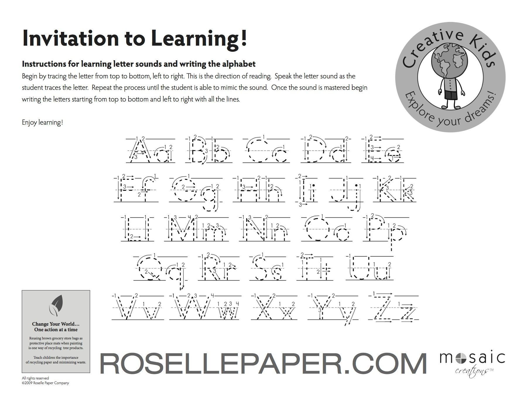 Tracing the alphabet from A to Z or from Z to A