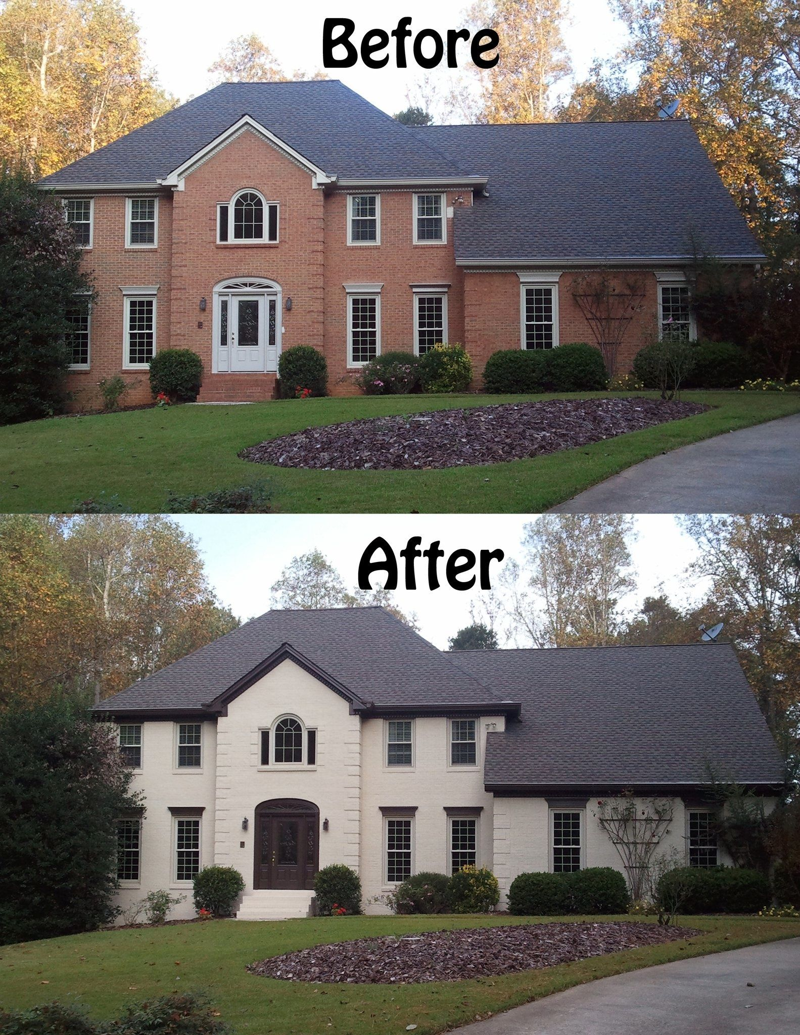 Make trim blend in with roof color love painted brick for Pictures of painted houses exteriors