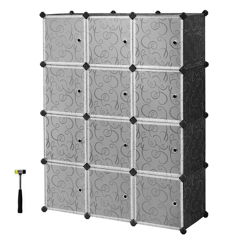 Songmics Cube Storage Organizer 12 Cube Closet Storage Shelves Diy Plastic Closet Cabinet Modu With Images Plastic Storage Cabinets Cube Storage Storage Closet Shelving