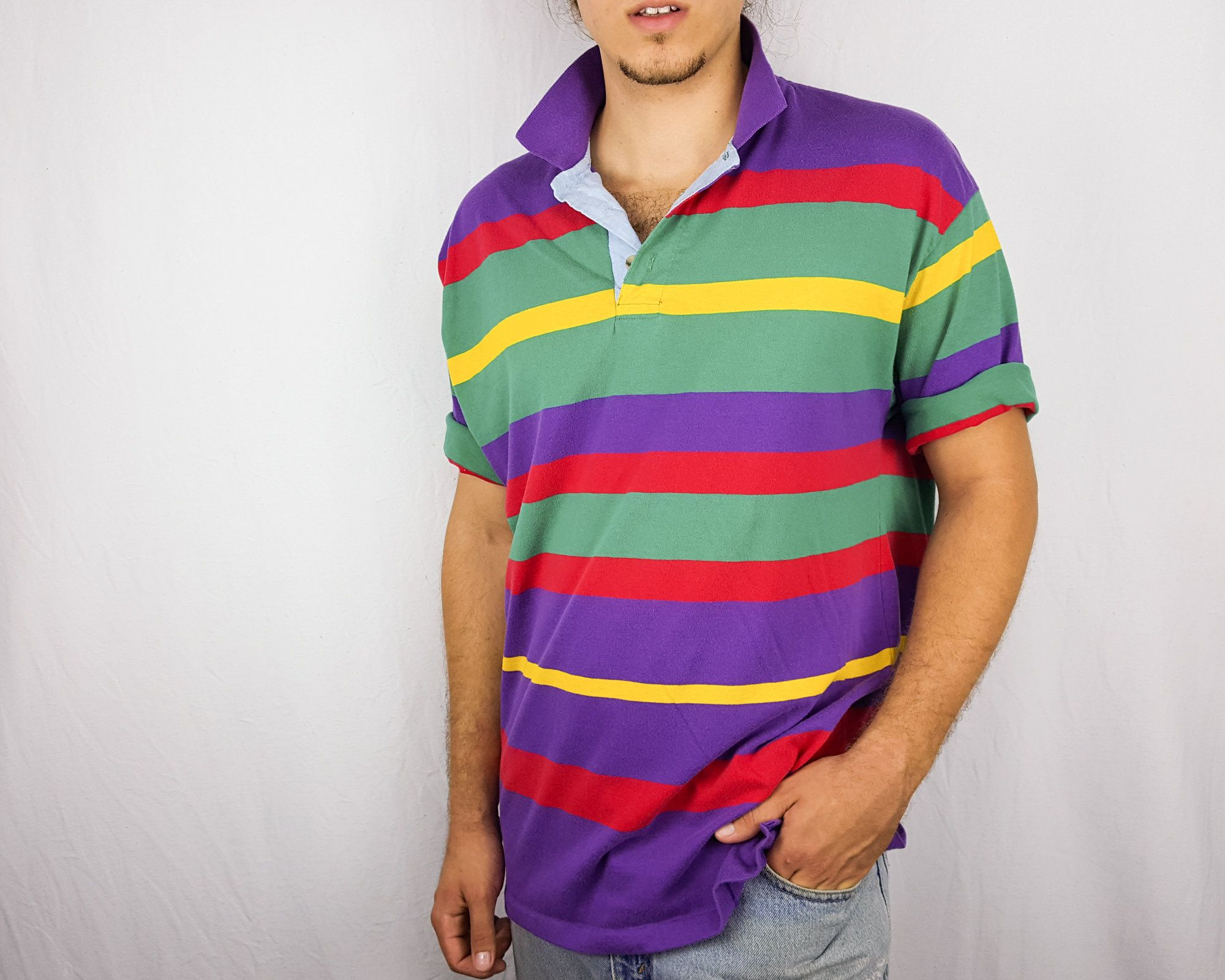 cf43314bacf Vintage 90s colorblock striped polo shirt with a chambray placket. Label is  Vessels Global Classics. #90s #etsy #vintage #vintageclothing #vintagestyle  # ...