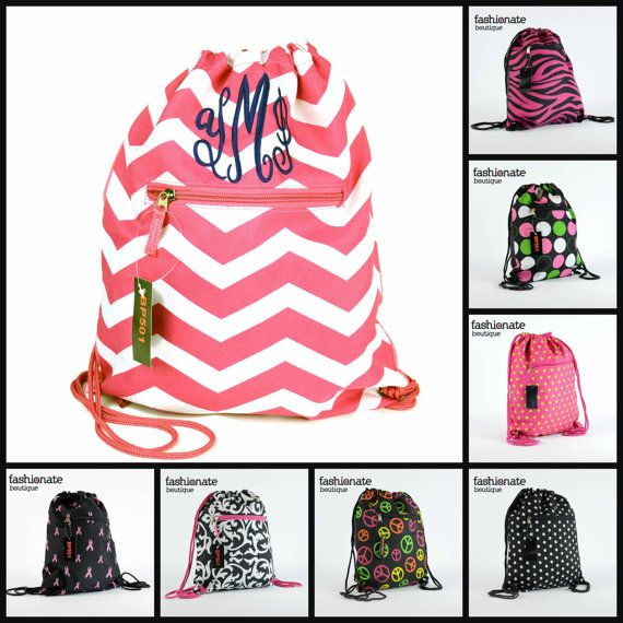 Customized Monogrammed Drawstring Backpack by FashionateBoutique ...