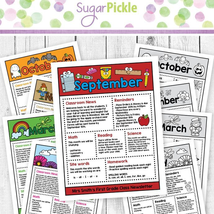 Editable Monthly Class Newsletter, Parent Newsletter
