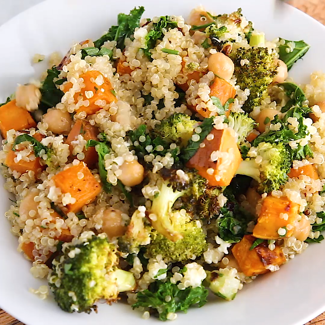 A delicious roasted broccoli quinoa salad with roasted sweet potatoes, kale and a flavorful lemon d