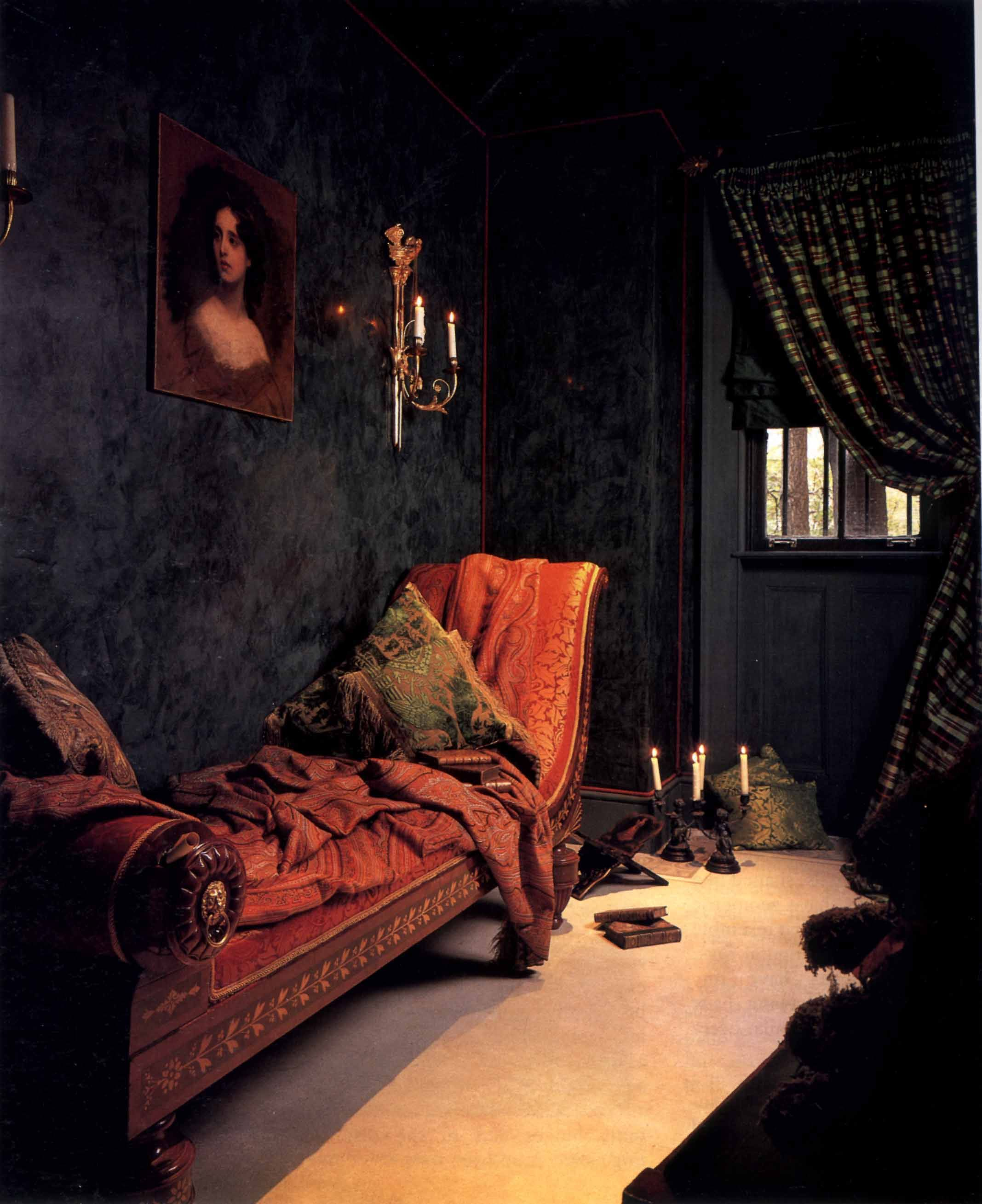 Gothic Victorian Silk Covered Chaise Rooms Black In