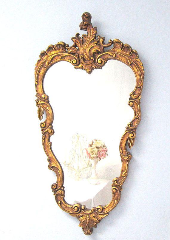 Decorative Antique Mirror Solid Wood Unique Gold Hollywood Regency