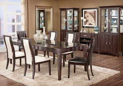 Mondavi Espresso 5 Pc Dining Room W Pearl Chairs Comprised Of
