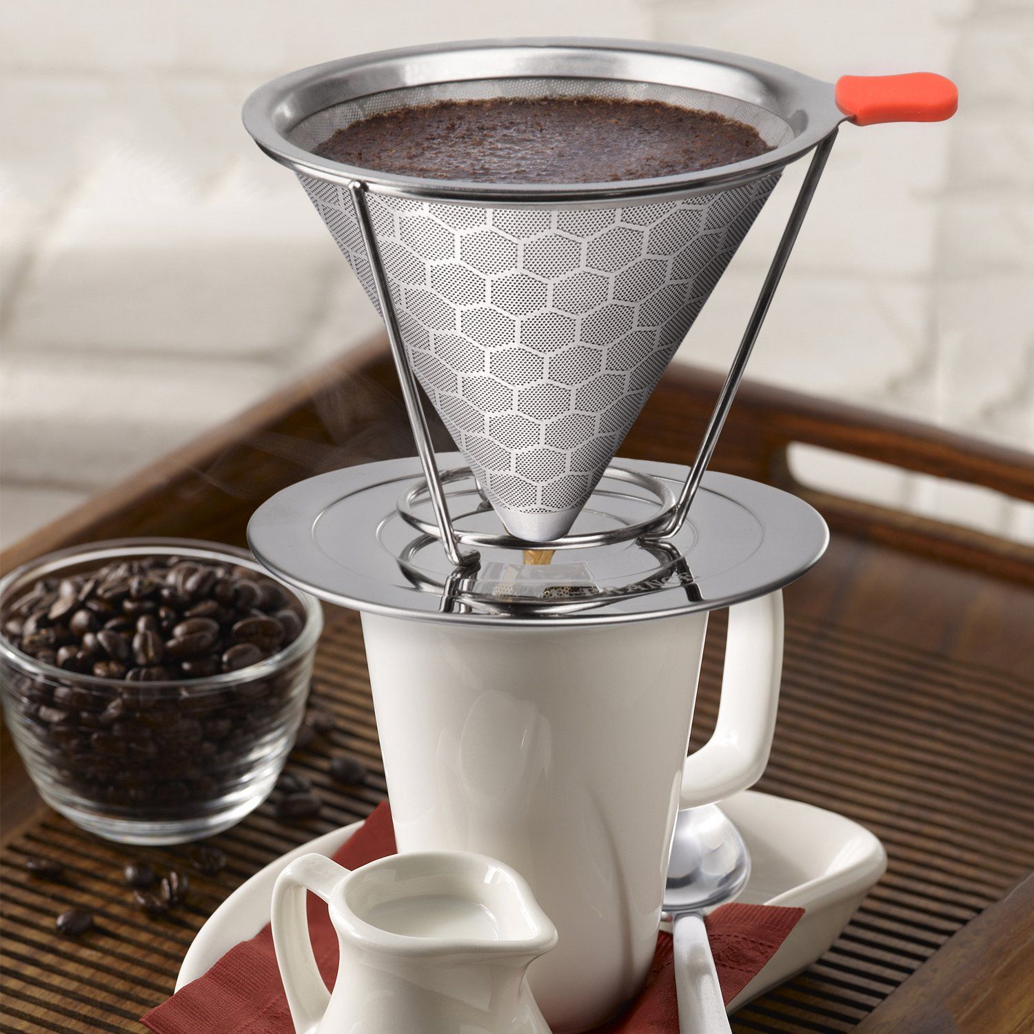 Open Kitchen Stainless Steel Pour Over Cone Dripper Reusable Drip Coffee Filter