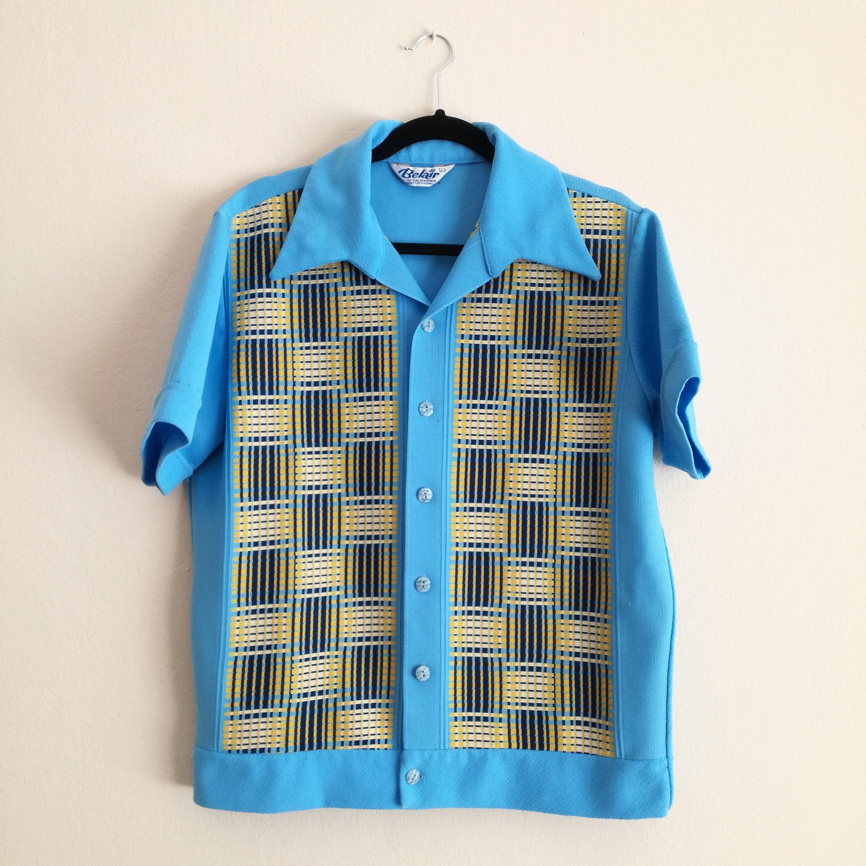 Vintage 70s Blue Shirt Geometric Pattern Short Sleeve  14.5 Small  Arrow Button Down Shirt