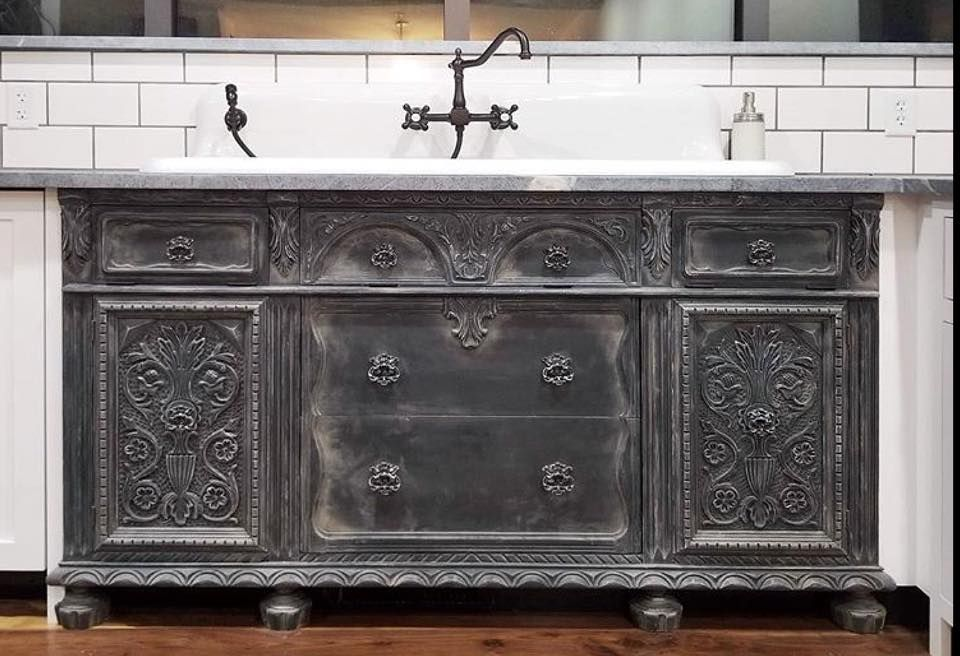 this kitchen sink unit by furnitureartstudiohas been painted in rh pinterest com