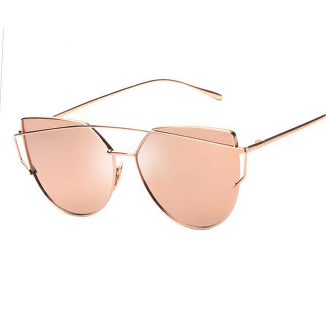 0b14279f2d833 Mulheres Gato Olho Óculos de Sol das senhoras Marca Grife Clássico  Twin-Vigas de Oculos de sol óculos de Espelho óculos de sol óculos de Lente  Plana ...