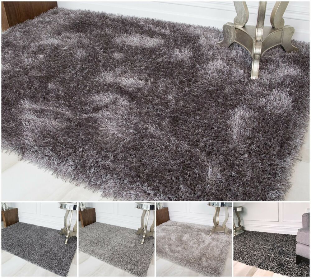 Cosy Fluffy Silver Grey Shaggy Rugs Thick Non Shed Living Room