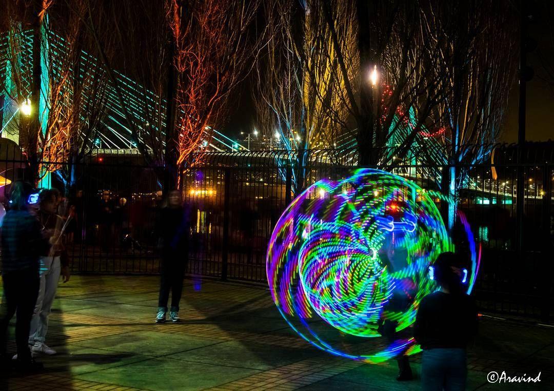 At the Portland winter lights festival.. beautiful work by lot of artists.. i was mesmerized by the lit up hula dance #portland #portlandoregon #pdxwlf #portlandlightfestival