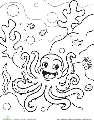 preschool kindergarten animals worksheets octopus coloring page - Preschool Coloring Pages
