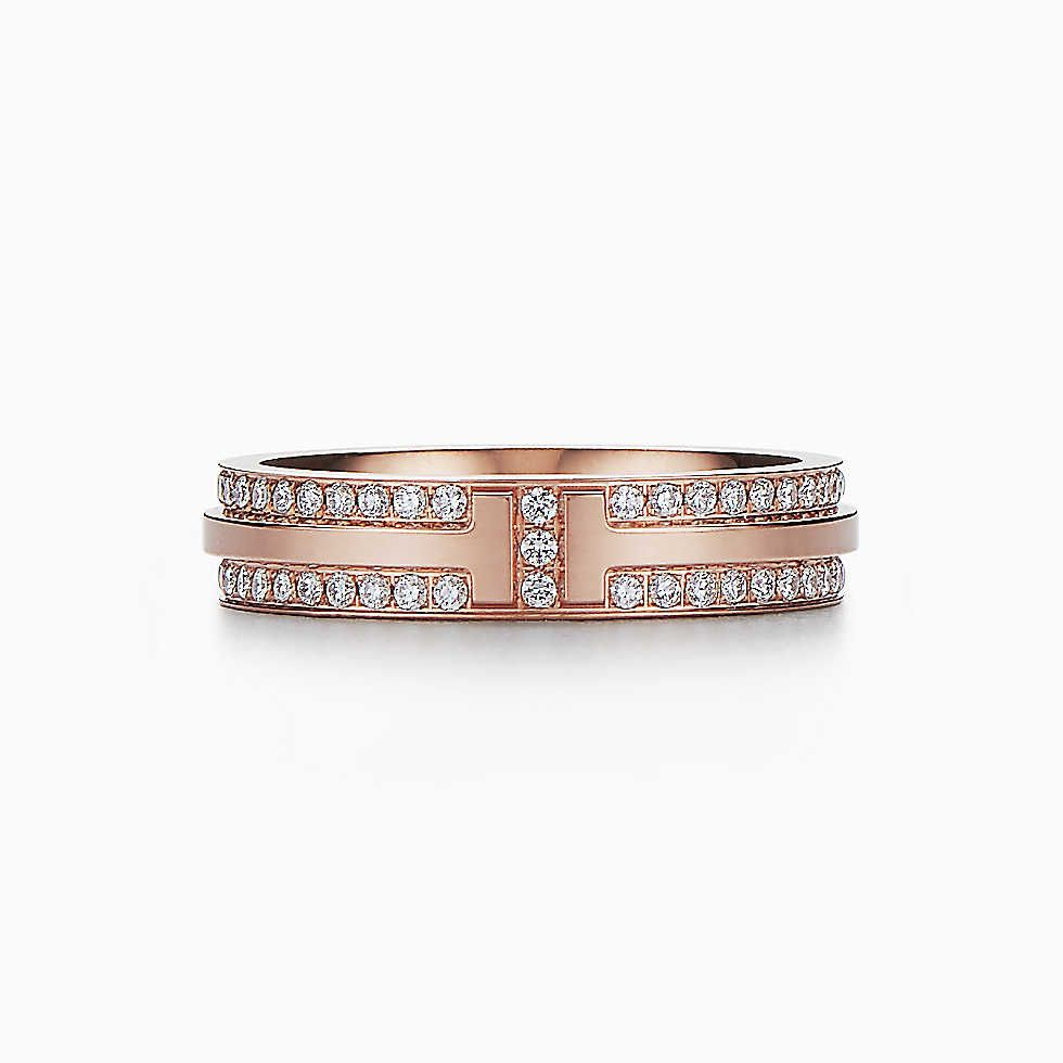 fcbca695e Tiffany T Two narrow ring in 18k rose gold with pavé diamonds ...