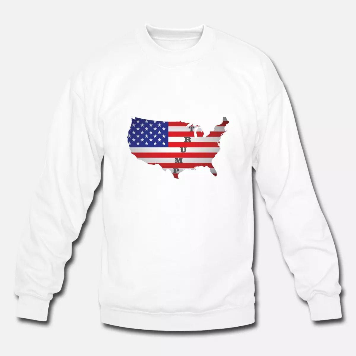 American Flag Trump Unisex Crewneck Sweatshirt Spreadshirt Long Sleeve Tshirt Men Crew Neck Sweatshirt Sweatshirts [ 1200 x 1200 Pixel ]