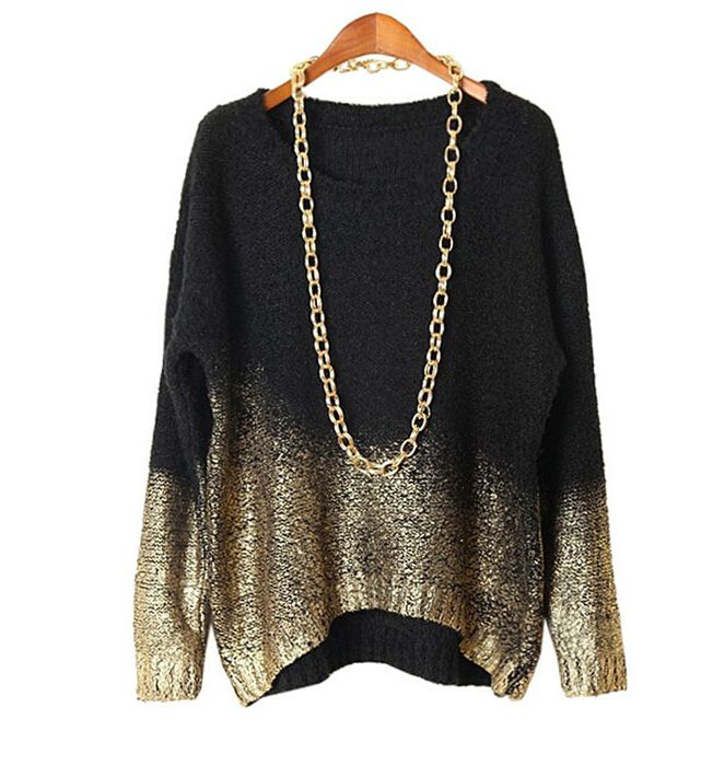 Gold Gradient Hem Sweater Pullover Plus Size | Gold gradient ...