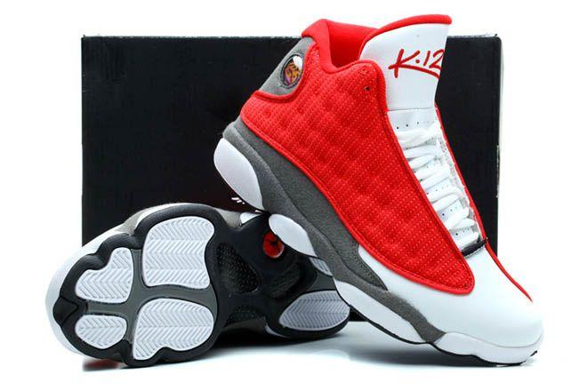 buy online e3bae dc563 Houston Rockets Kevin Martin PE Nike Jordan Brand Retro 13 XIII White Gray  Red Discount Shoe