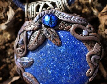 Midnight Blue Pendant - High quality Lapislazuli blue glass shimmery jewelry artisan pendant talisman leaves gemstone one of a kind earthy