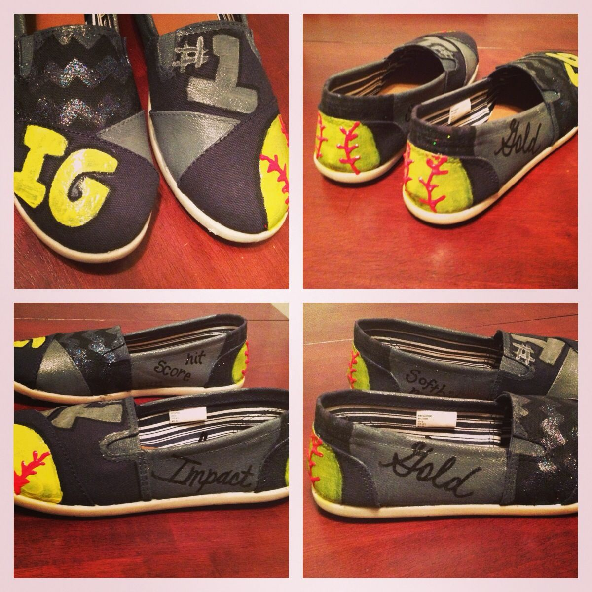 fbd49400db9c7 DIY painted softball shoes. Instead of IG put your team/ school ...