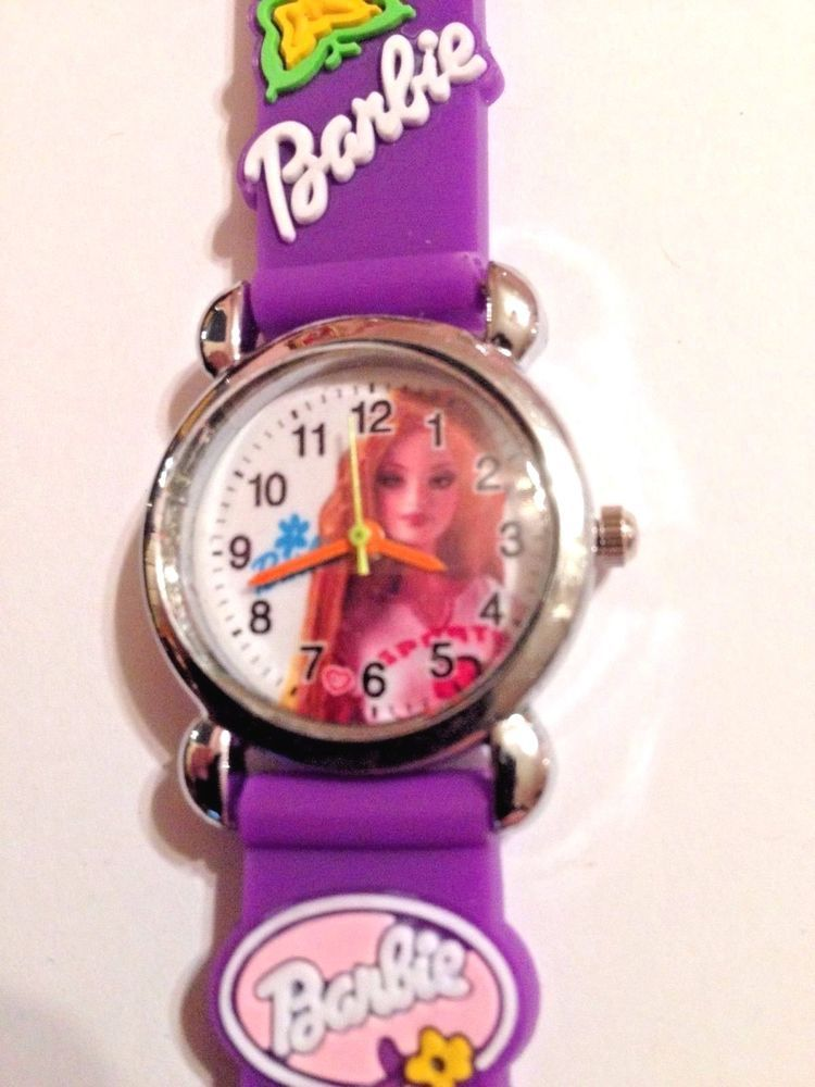 New Purple Barbie Silicone Girls Watch 3-D | eBay | Children\'s ...