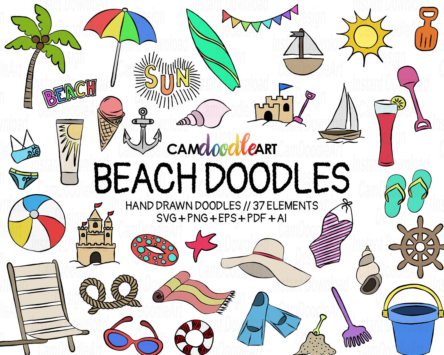 37 Beach Doodles Vector Pack Hand Drawn Doodle Clipart Beach Etsy How To Draw Hands Doodles Travel Doodles