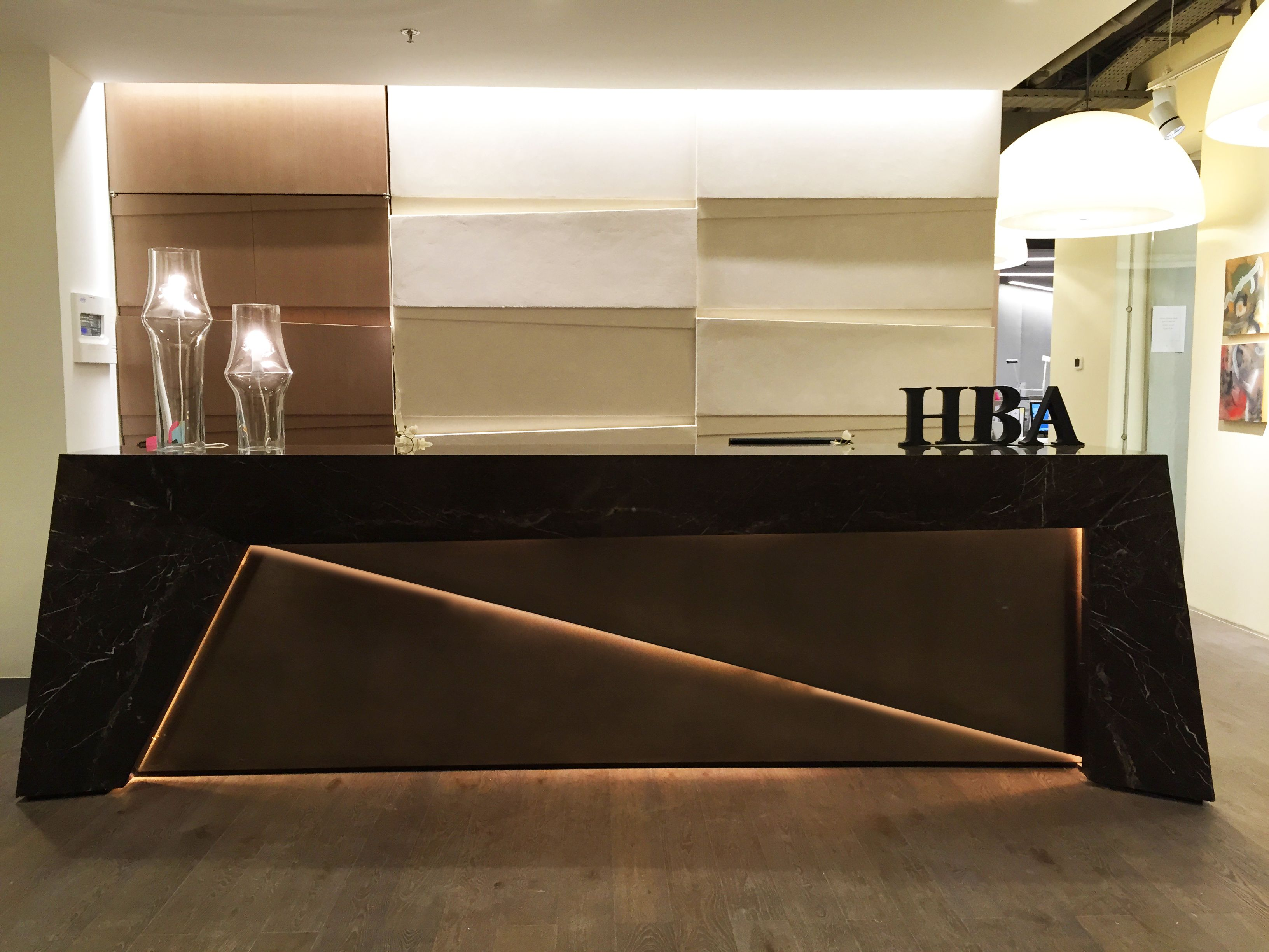 Hba dubai office reception desk and walls design by me for Office counter design