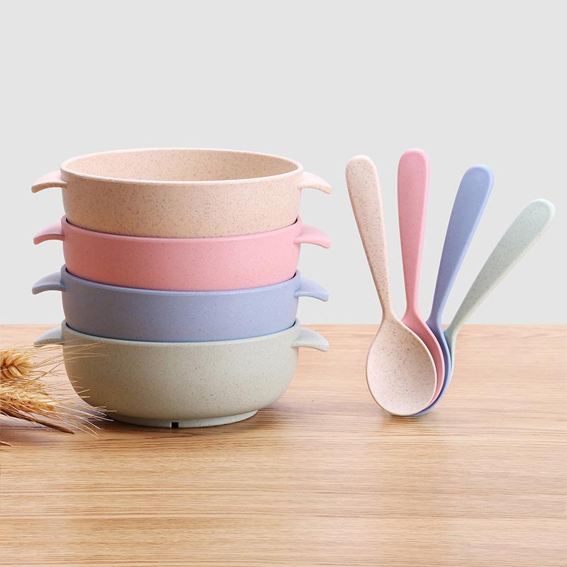 set 3 piezas: Bowl Plato y Cuchara Ecol/ógico sin BPA Bamb/ú y silicona grado alimentario Con ventosa antideslizante en la base Rosa BUABI Vajilla de Bamb/ú natural