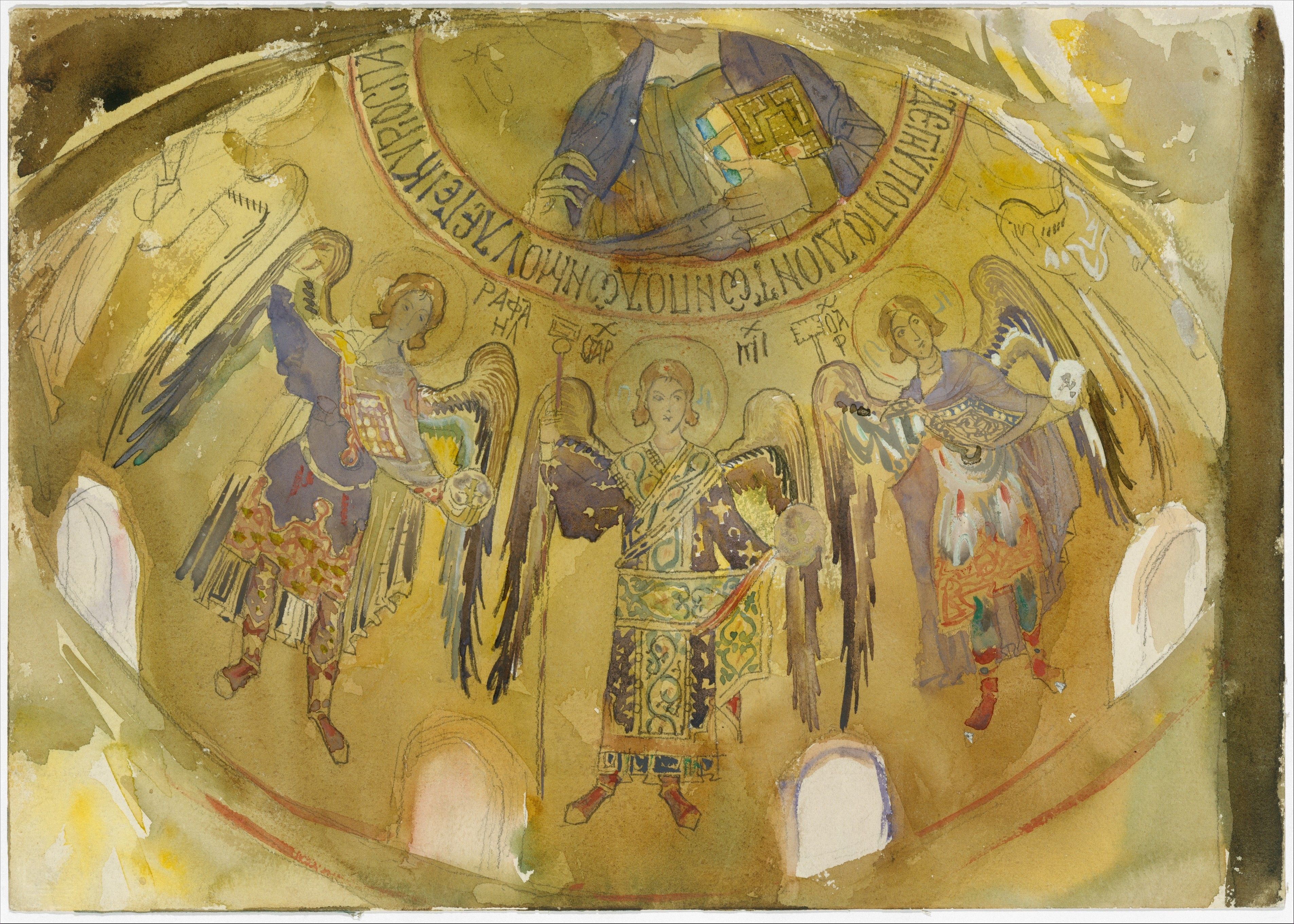Angels, Mosaic, Palatine Chapel, Palermo Artist: John Singer Sargent (American, Florence 1856–1925 London) Date: 1897–1903 Medium: Watercolor, gouache, and graphite on off-white wove paper Dimensions: 9 13/16 x 13 15/16 in. (24.9 x 35.4 cm) Classification: Drawings