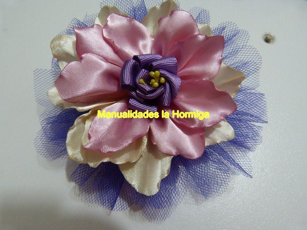 Accesorios Flores Grandes En Cinta Para El Cabello Large Flowers On Sat Tutorial Flor Hecha Con Cinta Flores De Tela Hechas A Mano Escultura Con Cinta