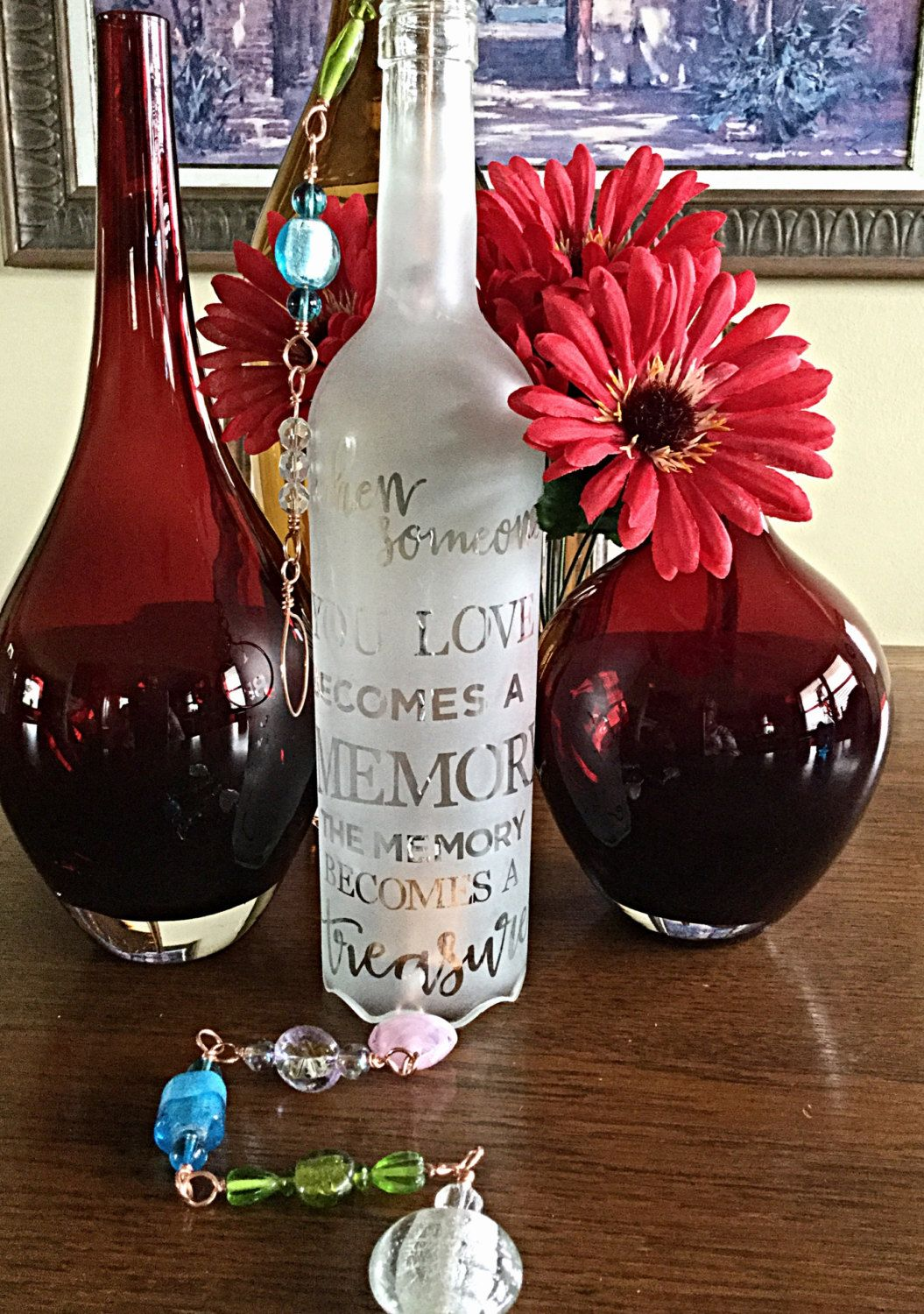 Personalized Engraved Sympathy Wind Chimes Glass Bottles Etsy Sympathy Wind Chimes Wind Chimes Personalized Glass