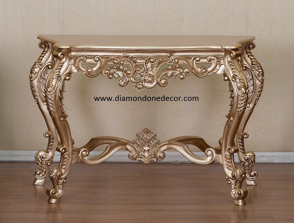 French Reproduction Baroque Rococo Decorator Console Table Louis XVI Style