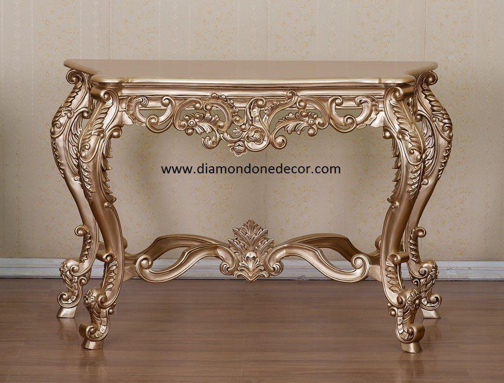 French Reproduction Baroque Rococo Decorator Console Table Louis XVI Style