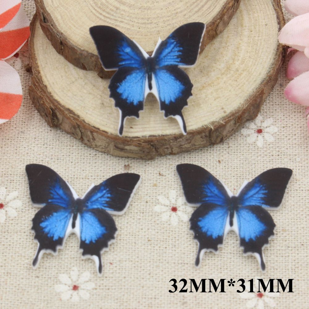 Blue Butterfly Flat Back Resins Animal Planar Resin Cabochon DIY Craft For Home  Decoration Accessories