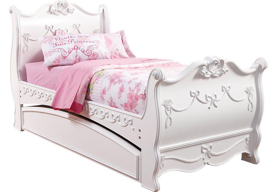 Disney Princess White 4 Pc Twin Sleigh Bed W Trundle Twin Sleigh
